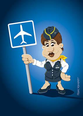 Flight Attendant Cartoon Woman Airport Sign Art Print