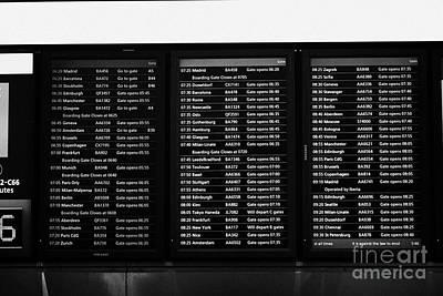 flight information boards London Heathrow Airport Terminal 5 ear Art Print