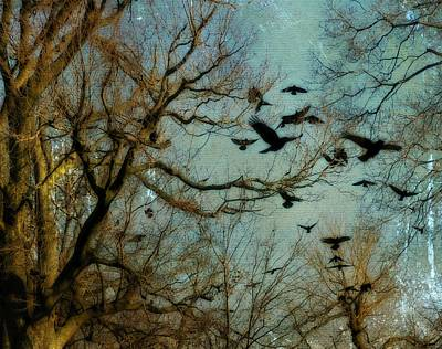 Flight Of The Forest Crows Art Print