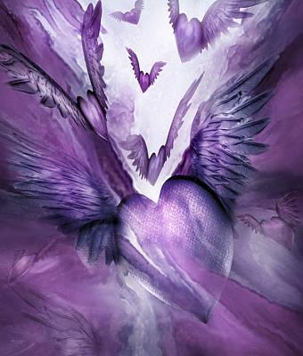 Mood Art Mixed Media - Flight Of The Heart - Lavender by Carol Cavalaris
