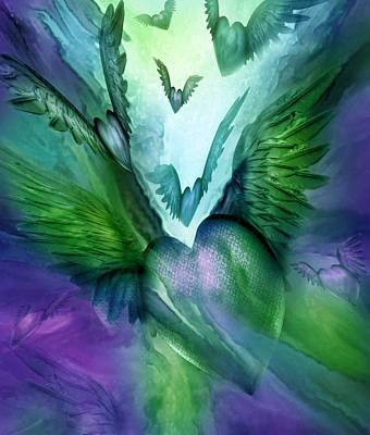 Flight Of The Heart - Purple Green Art Print
