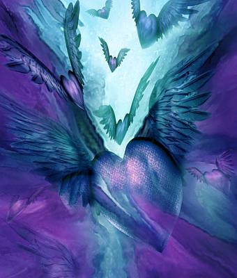 Mood Art Mixed Media - Flight Of The Heart - Teal Purple by Carol Cavalaris