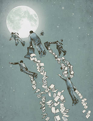 Surrealism Drawing - Flight Of The Salary Men by Eric Fan