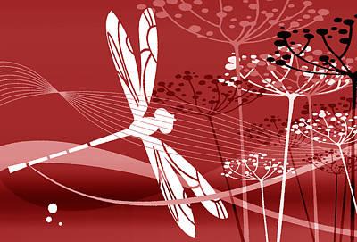 Digital Art - Flight Pattern Red by Angelina Tamez