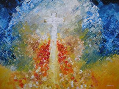 Unusual Religious Painting - Flight To Heaven by Ralph Loffredo