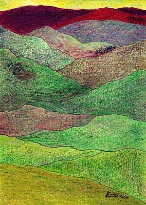 Drawing - Flint Hills Fall by Lesa Weller