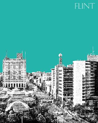 Pen Digital Art - Flint Michigan Skyline - Teal by DB Artist