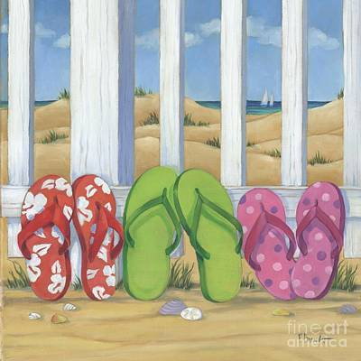 Sand Fences Painting - Flip Flop Beach Square by Paul Brent