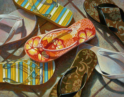 Summer Flowers Painting - Flip Flops by Mia Tavonatti