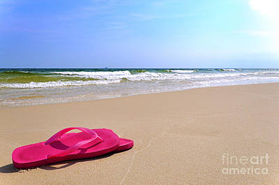 Flip Flops On Beach Art Print