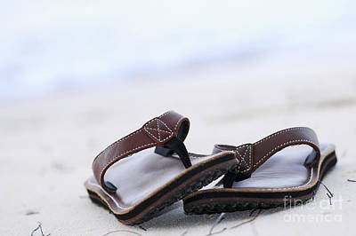 Beach Royalty-Free and Rights-Managed Images - Flip-flops on beach by Elena Elisseeva