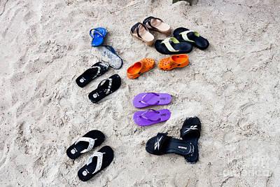 Flip Flops On The Beach Art Print