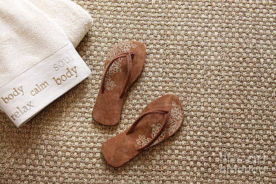 Flip Flops With Towels On Seagrass Rug Art Print by Sandra Cunningham