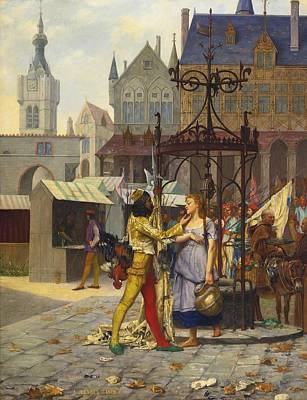 Painting - Flirtation In The Town Square by Celestial Images