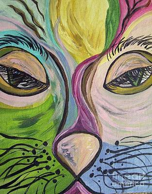 Cat Portraits Painting - Flirty Feline ... Cat Eyes by Eloise Schneider