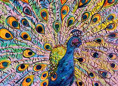 Personality Mixed Media - Flirty Peacock by Eloise Schneider