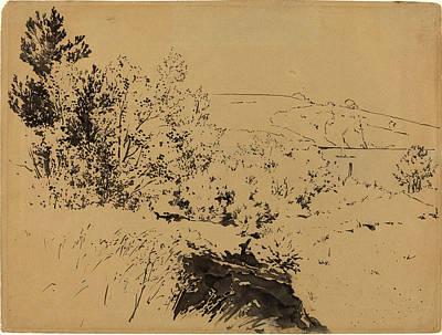 Fade Drawing - Félix Bracquemond, Coastal Landscape, French by Litz Collection