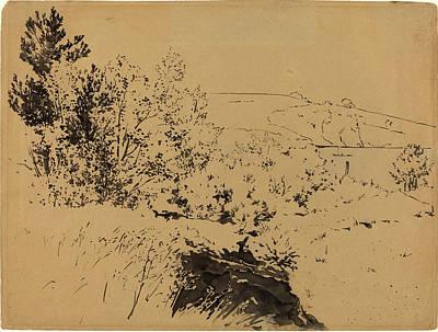 Coastal Landscape Drawing - Félix Bracquemond, Coastal Landscape, French by Litz Collection