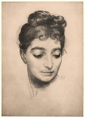1833 Drawing - Félix Bracquemond French, 1833 - 1914. Portrait by Litz Collection