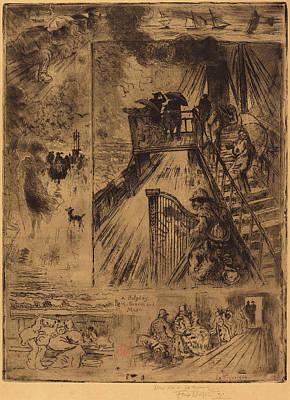 Félix-hilaire Buhot French, 1847 - 1898, La Traversée Art Print