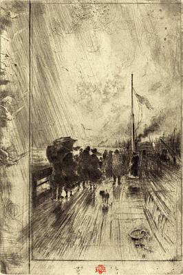 Félix-hilaire Buhot French, 1847 - 1898, Une Jetée En Art Print