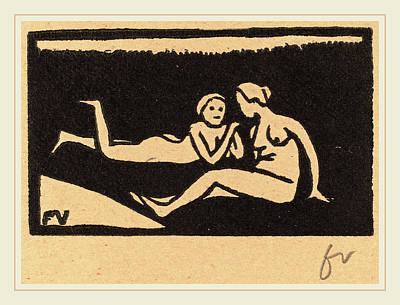 Brown Swiss Drawing - Félix Vallotton, Bathers On The Grass Baigneuses étendues by Litz Collection