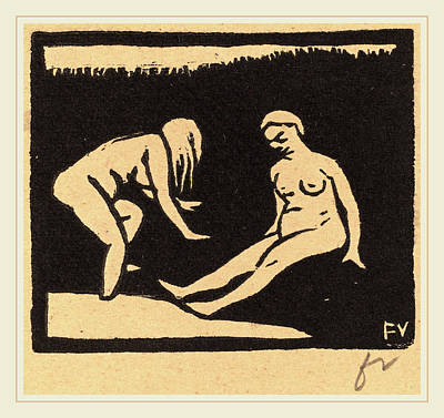Brown Swiss Drawing - Félix Vallotton, Leaving The Water La Sortie Du Bain by Litz Collection