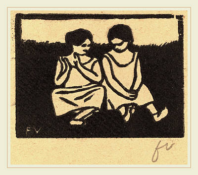 Brown Swiss Drawing - Félix Vallotton, Two Girls In Chemises Deux Fillettes En by Litz Collection