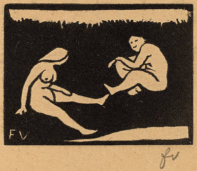 Brown Swiss Drawing - Félix Vallotton, Two Seated Bathers Deux Baigneuses Assises by Quint Lox