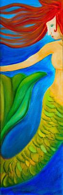 Mermaid Painting - Float by Linda Clayton