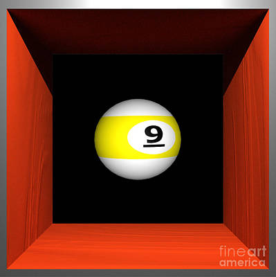 Billard Digital Art - Floating 9-ball by Rhett Lenhausen