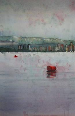 Abstract Realist Landscape Painting - Floating Barrels by Sandrine Pelissier