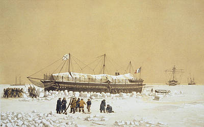 Pack Drawing - Floating Battery La Tonnante In The Ice by A. & Morel-Fatio, A. Bayot