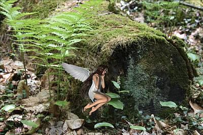 Mayflower Mixed Media - Floating Fairy In Forest by Lynn-Marie Gildersleeve