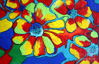Art Print featuring the painting Floating Flowers by Alison Caltrider