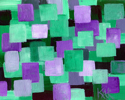 Floating Green And Purple Squares Art Print by Art by Kar
