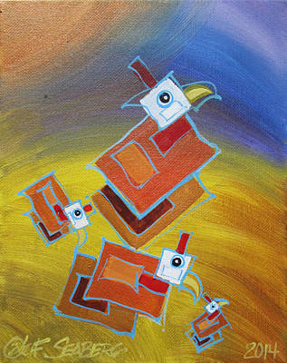 Painting - Floating Guinea Squares by Jeff Seaberg