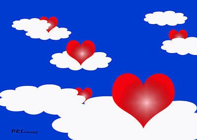 Floating Hearts Art Print