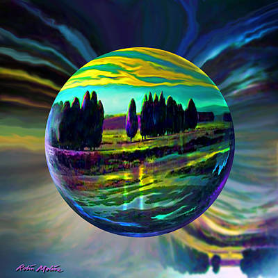 Round Digital Art - Floating Lavender Fields  by Robin Moline