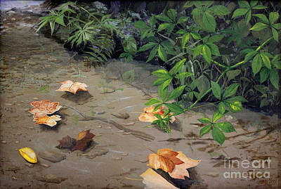 Painting - Floating Leaves By George Wood by Karen Adams