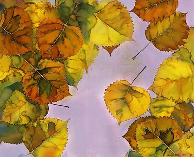 Wax Art Tapestry - Textile - Floating Leaves by Carolyn Doe
