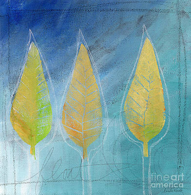 Fall Leaves Painting - Floating by Linda Woods
