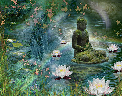 Surreal Figure Photograph - Floating Lotus Buddha by Alixandra Mullins