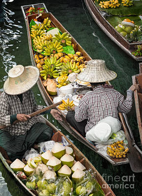 Floating Market  Art Print by Anek Suwannaphoom