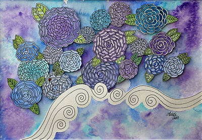 3-dimensional Painting - Floating Roses by LaVada Taylor