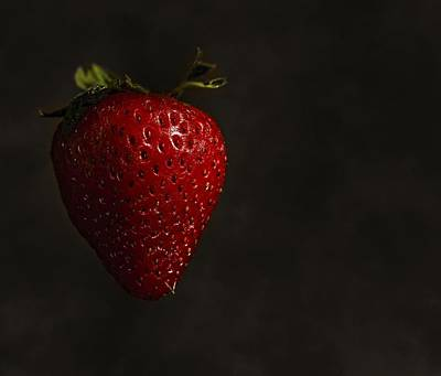 Floating Strawberry Art Print by Tim Hayes