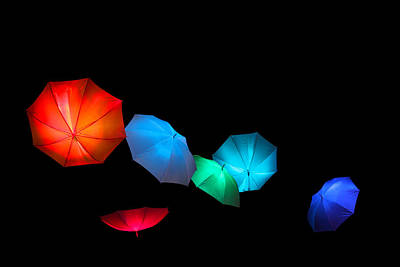 Floating Umbrellas  Art Print by James Hammen