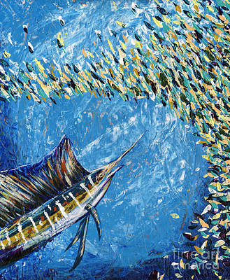Fish-eye Look Painting - Sailfish Lunch by Lovejoy