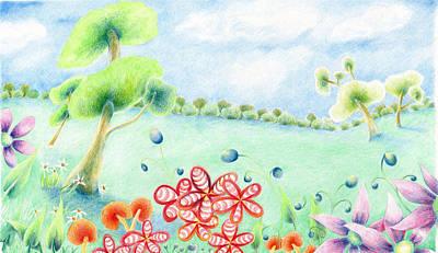 Lilac Drawing - Floaty World by Liz  Lamb