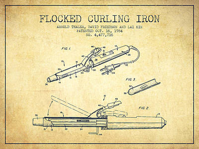 Barber Shop Drawing - Flocked Curling Iron Patent From 1984 - Vintage by Aged Pixel